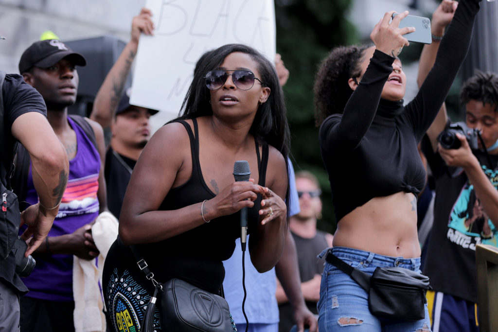 The Denver protests against police brutality and the death of George Floyd at the hands of Minneapolis police spilled into Wednesday June 3 with a rally at the Capitol, a march through the city and a second rally at Civic Center Park. Dazha Mannani led chants at the the Capitol.