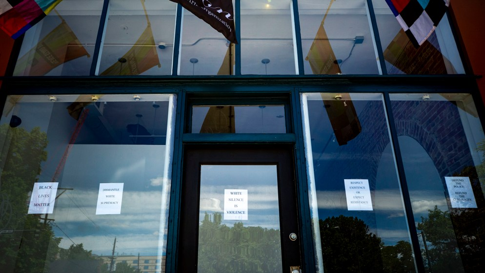 The Leon Gallery has messages of solidarity with Black Lives Matter protesters taped to its windows. June 10, 2020. (Kevin J. Beaty/Denverite)