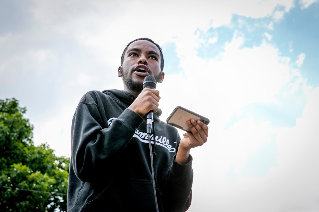 A student-led demonstration supporting Black Lives Matter, organized by DSST: College View High School in Denver, marched from Cheeseman Park to the Capitol on Tuesday, June 16, 2020. Ahmed Eltayeb spoke to the students at then Capitol.