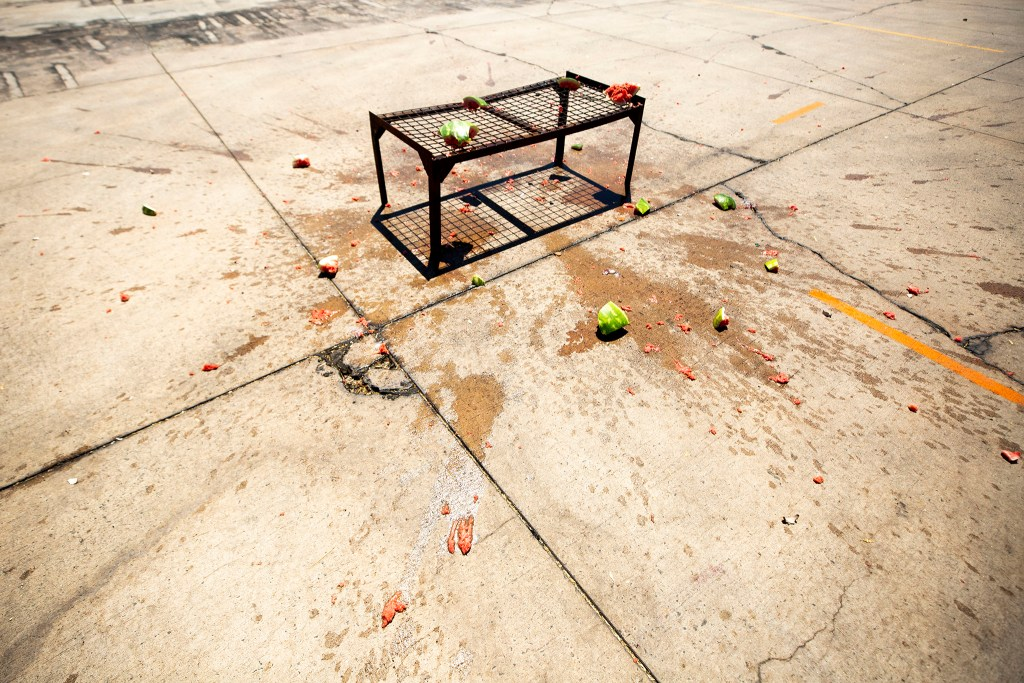 Denver Police and Denver Fire officials blew up a watermelon to show that fireworks can be dangerous. June 24, 2020. (Kevin J. Beaty/Denverite)
