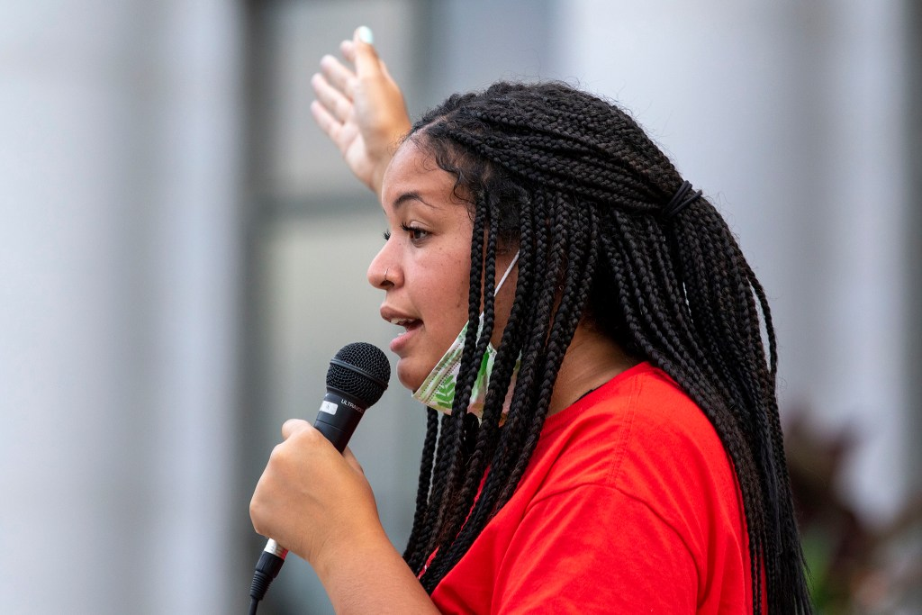 Isabella Dominique speaks during the Denver People's Town Hall on the City and County Building steps on June 29, 2020. (Kevin J. Beaty/Denverite)