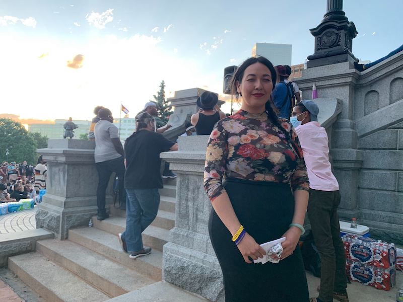 Poet Kimberly Ming poses for a portrait near the state Capitol after reciting some of her work on Sunday, June 7, 2020, in Denver. (Esteban L. Hernandez/Denverite)