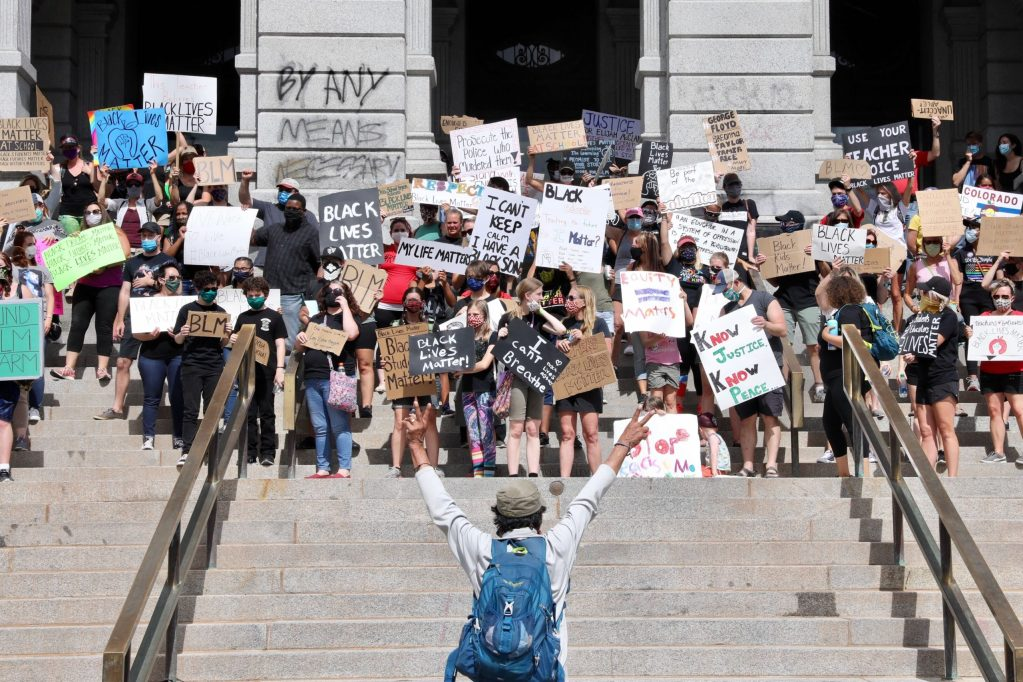 Educators opposing racism and police brutality and supporting Black Lives Matter at the state Capitol Thursday, June 11, 2020. (Hart Van Denburg/CPR)