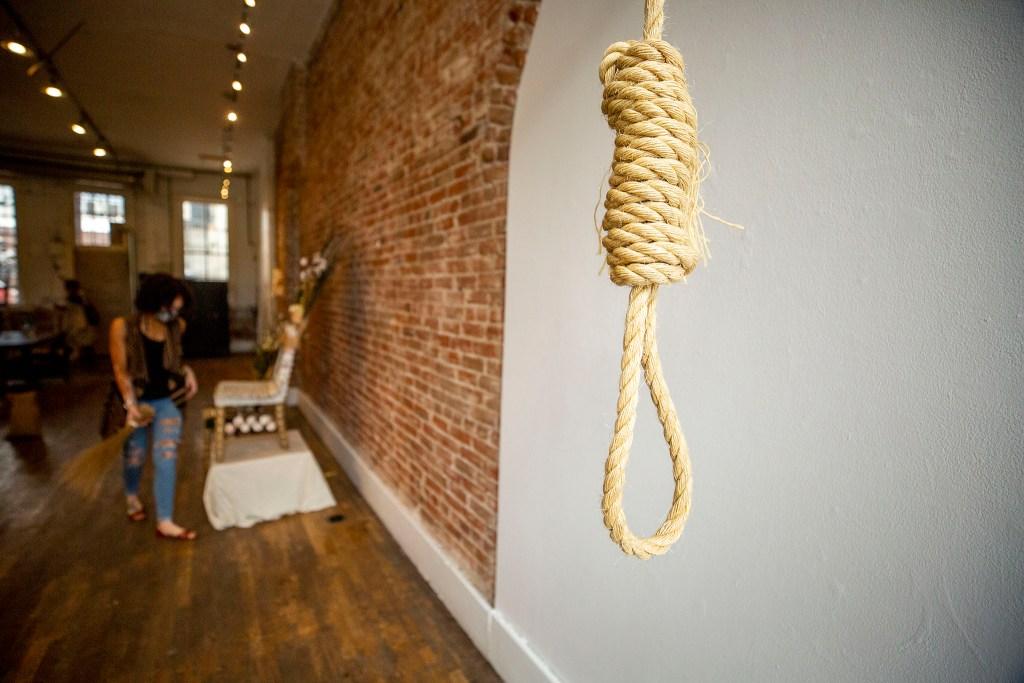 An installation by Jasmine Abena Colgan at the Leon Gallery. City Park West, Juy 16, 2020. (Kevin J. Beaty/Denverite)