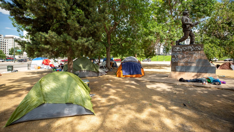 An encampment at Lincoln Park at Lincoln Street and Colfax Avenue. July 17, 2020.