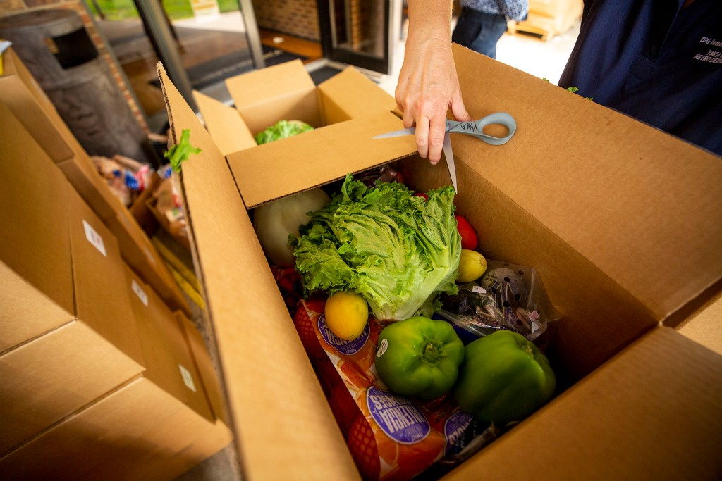 A look inside a USDA food box delivered to the Southwest Family YMCA. July 24, 2020.