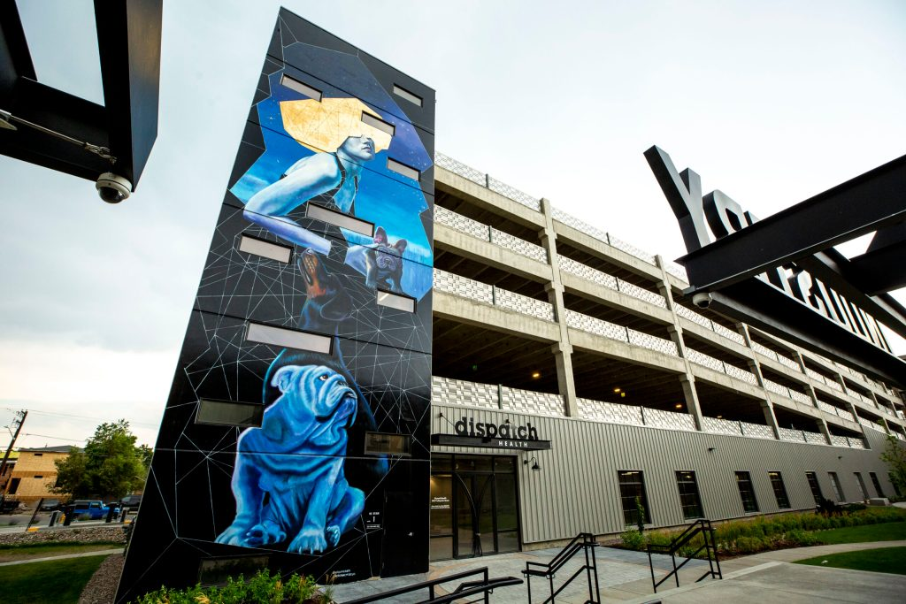 A mural by Adrian Avila and Patrick Kane McGregor behind the Industry coworking space at 3858 Walnut St. in Cole. Aug. 5, 2020.