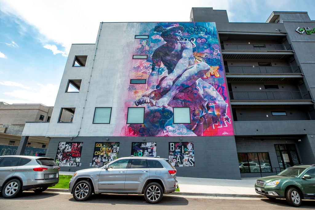 A mural by PichiAvo! at 3198 Blake Street in Five Points. Aug. 5, 2020.