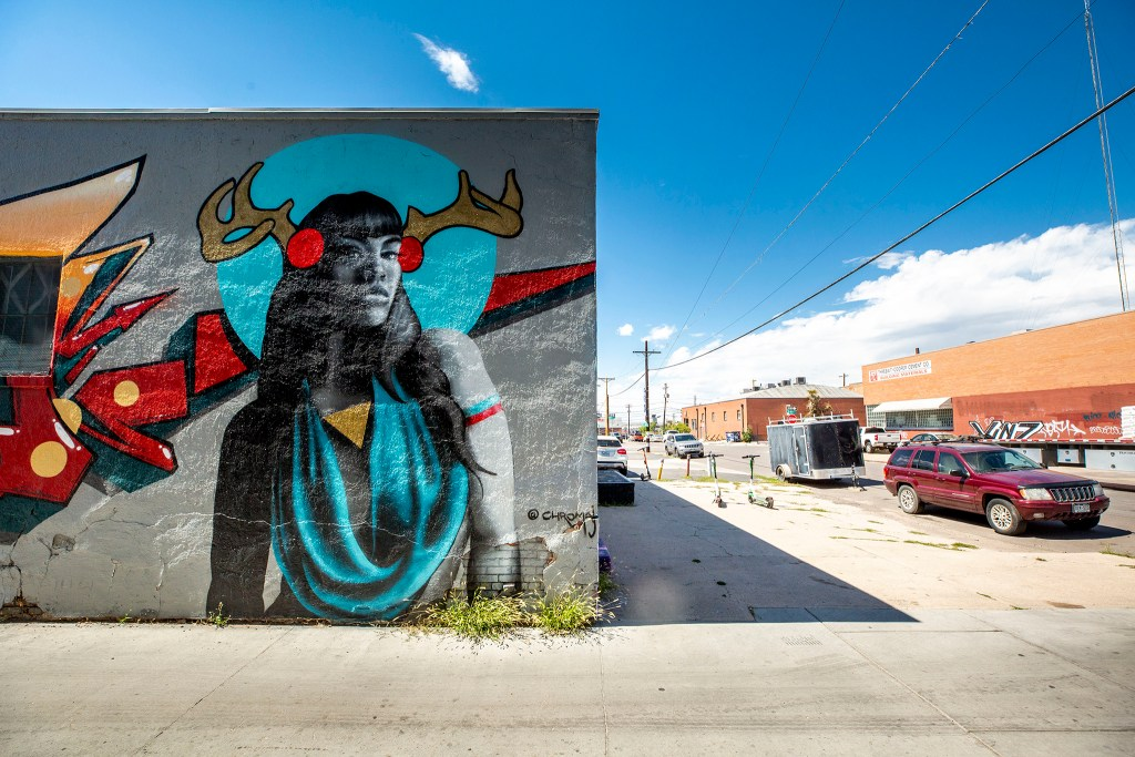 A mural by Jodie Herrera between Larimer and Walnut Streets on 29th Street. Aug. 12, 2020.