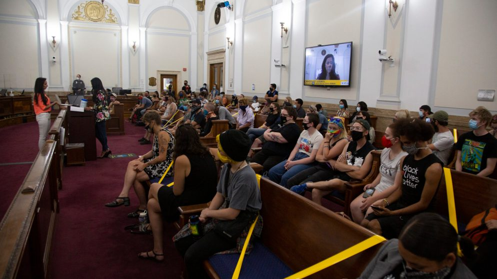 Activists filled Denver City Council chambers on Aug. 17, 2020, in support of Councilwoman CdeBaca's ballot measure that would have abolished Denver's police department.