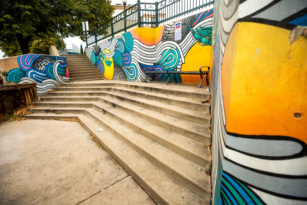 A mural by Rather Severe at 11th Avenue along the Cherry Creek Trail. Sept. 10, 2020.