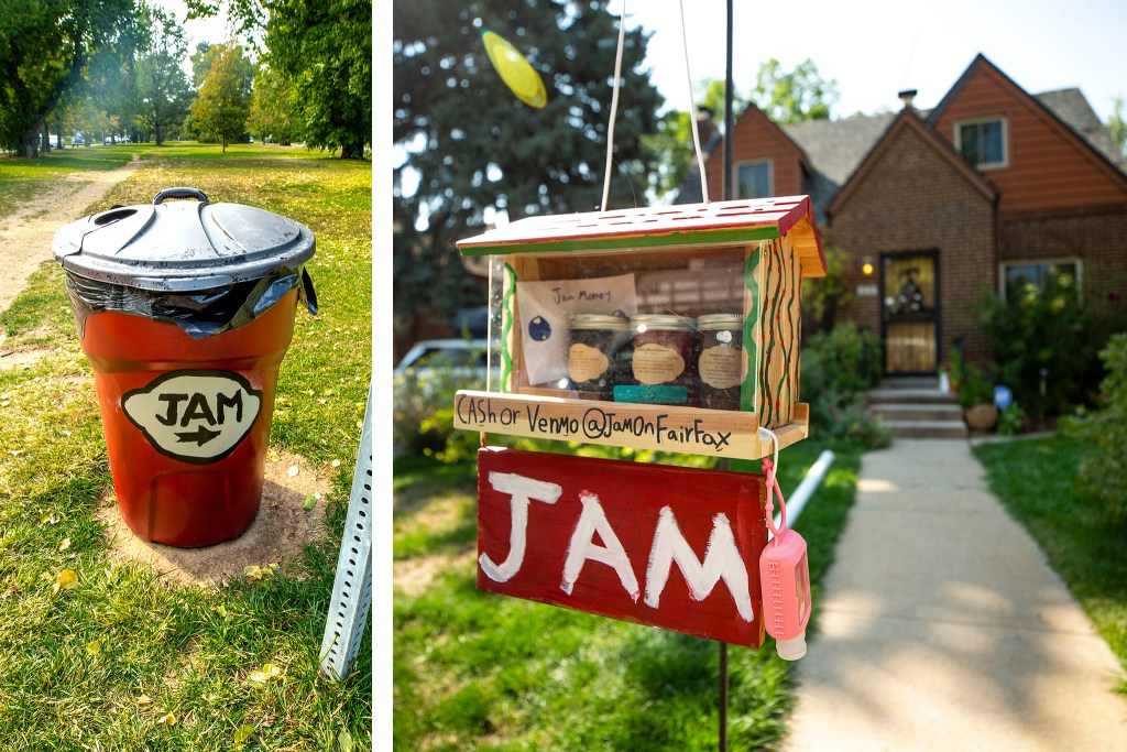 Anna Sidorchuk has provided a poop trashcan that doubles as an advertisement for her kids' jam stand in front of their home in Hale.