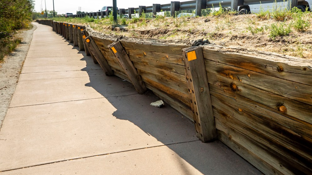The collapsing retaining wall along the South Platte River Trail by Vanderbilt Park. It's on the edge of Denver's Athmar Park neighborhood. Oct. 8, 2020.