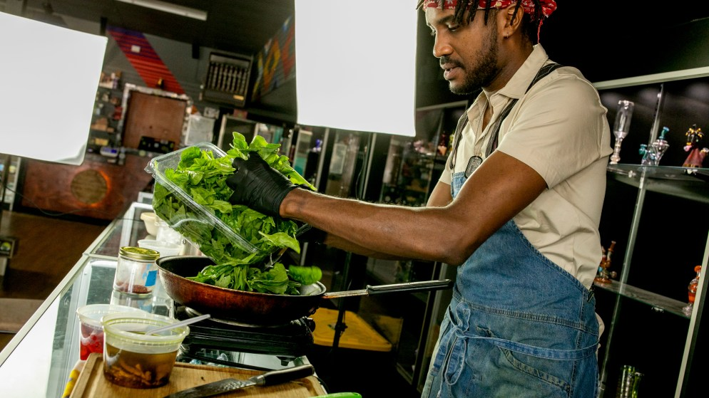 Harold Sims infuses his African-inspired cuisine with cannabis.