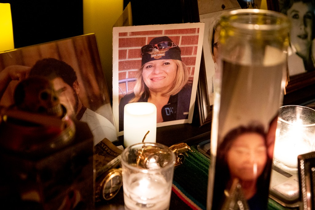 Mary Ellen Finn is memorialized in the ofrenda Paul Stephens and Christopher Jorgenson built on their front porch in Harvey Park. Oct. 29, 2020.