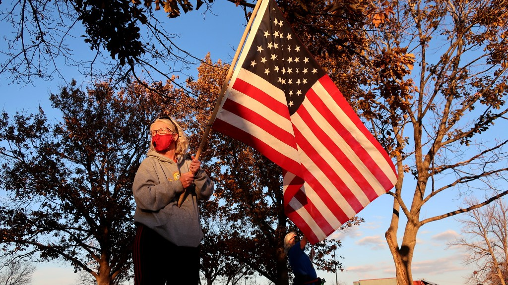 """A rally to """"count every vote"""" in Arvada. Nov. 4, 2020. (Jenny Brundin/CPR News)"""
