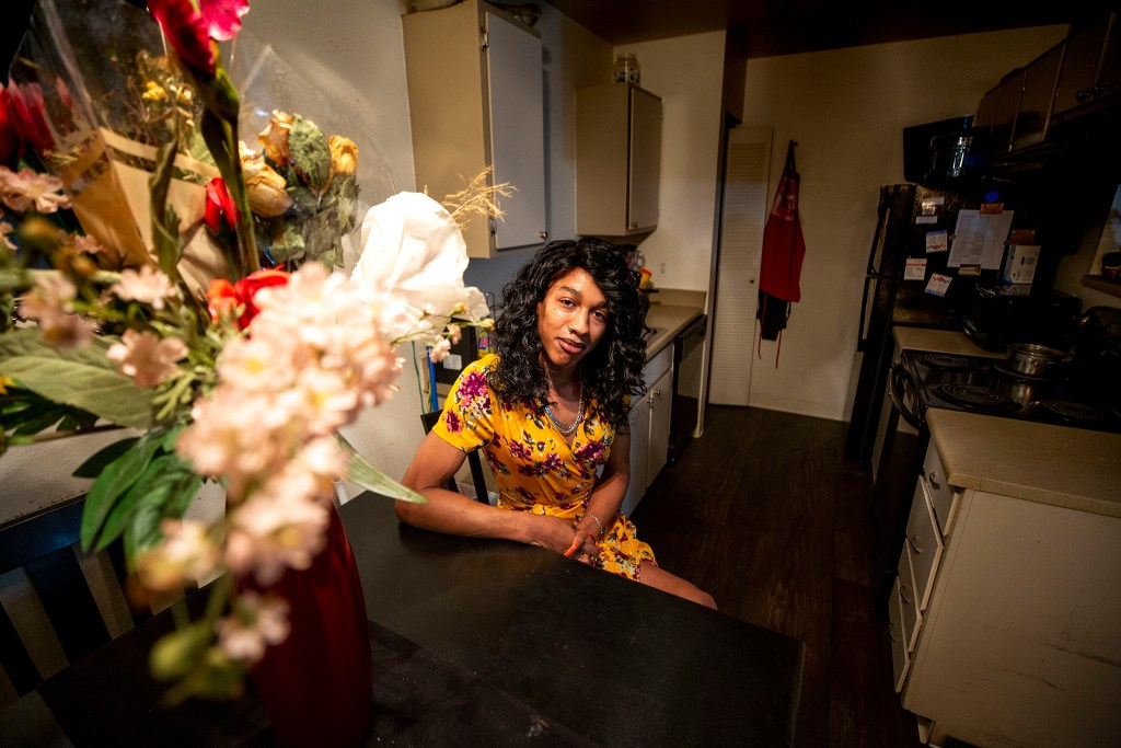 Cagzmier Jumper, lead peer specialist with the Transgender Center of the Rockies, in her Aurora home. Nov. 18, 2020.