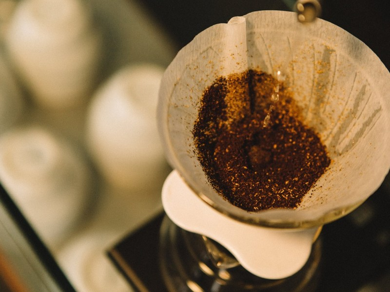 coffee, grinds, filter