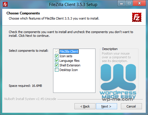 FileZilla Installer - Choosing Components