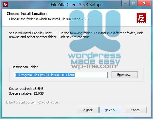 FileZilla Installer - Choosing Installation Location