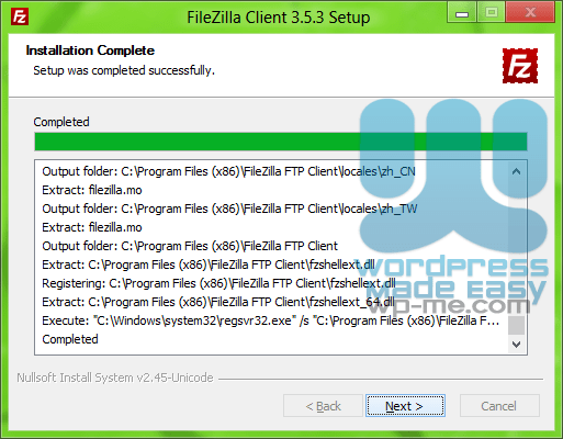 FileZilla Installer - Installation Complete