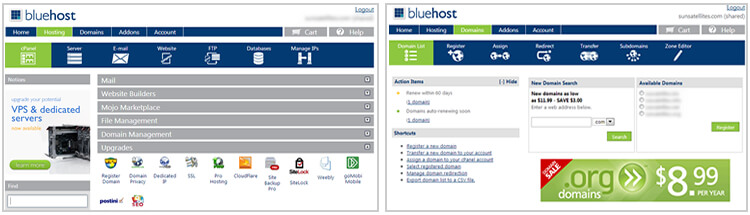 Bluehost Shared hosting for WordPress Review - Bluehost cPanel