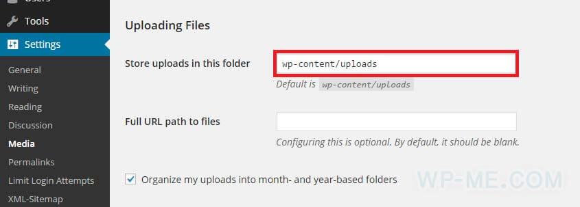 Change WordPress Uploads Folder