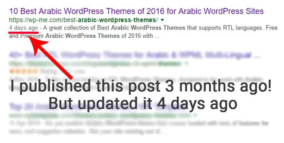 last updated date Google SERPs