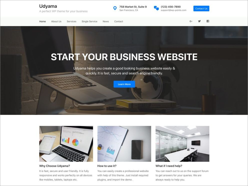 WordPress Theme Udyama - Import Demo