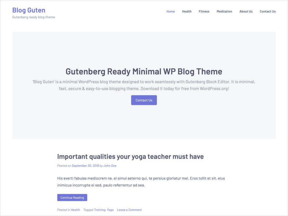 Blog Guten - Gutenberg WordPress Blog Theme