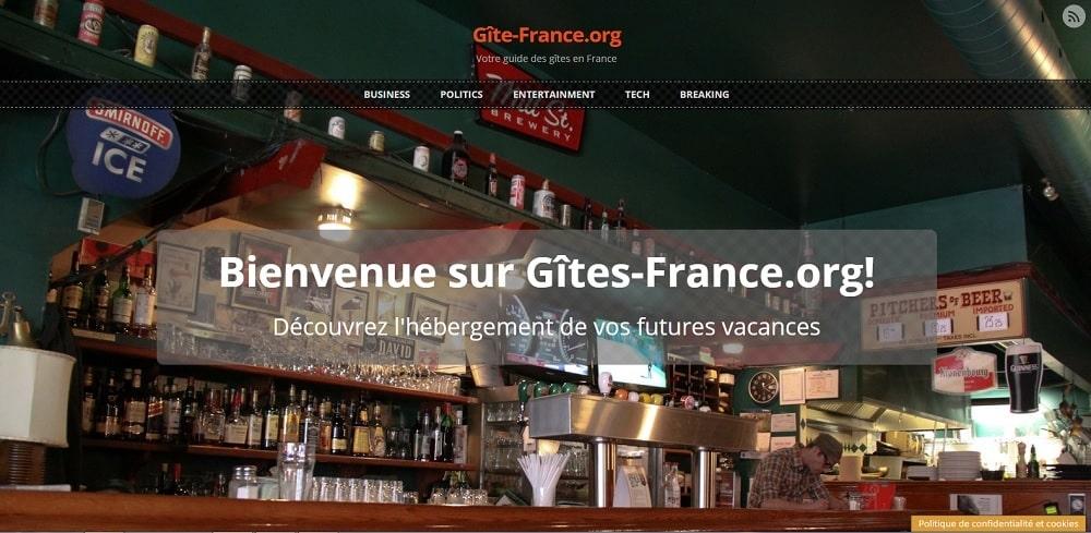 Capture d'écran du site www.gite-france.org qui utilise le thème Sunrise pour WordPress traduit en français par WP-Traduction.com