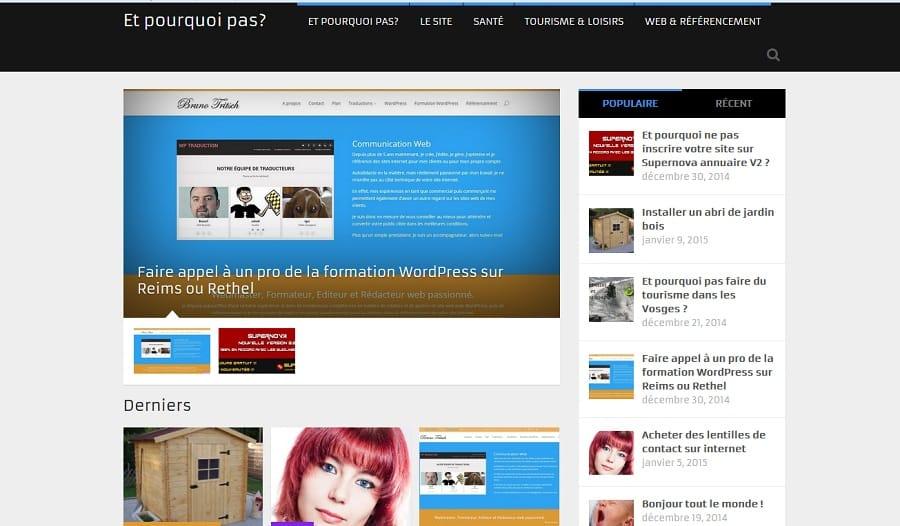 Le site www.et-pourquoi-pas.com utilise le thème premium Magxp et sa traduction en français.