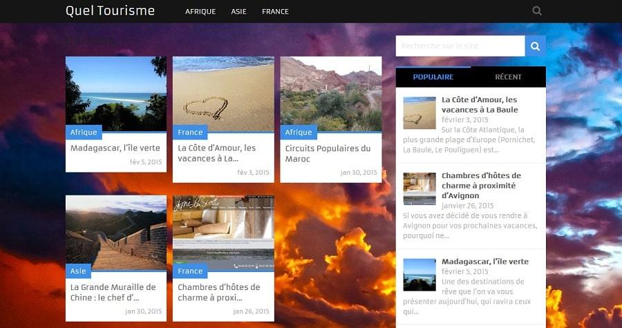 Le site www.quel-tourisme.com utilise le thème premium Magxp et sa traduction en français.
