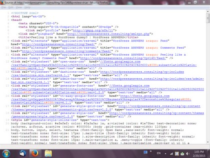 Screenshot of the source html and php code for a WordPress webpage