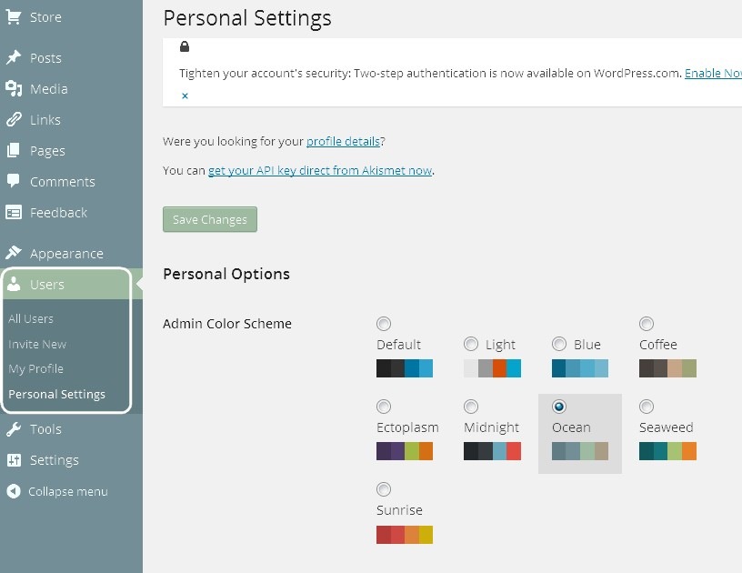 Screenshot of a WordPress,com dashboard, showing the Users/Personal Settings page