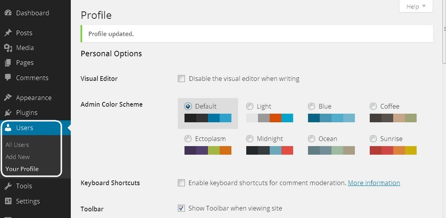 Screenshot of a self-hosted WordPress dashboard, showing the Users/Your Profile page