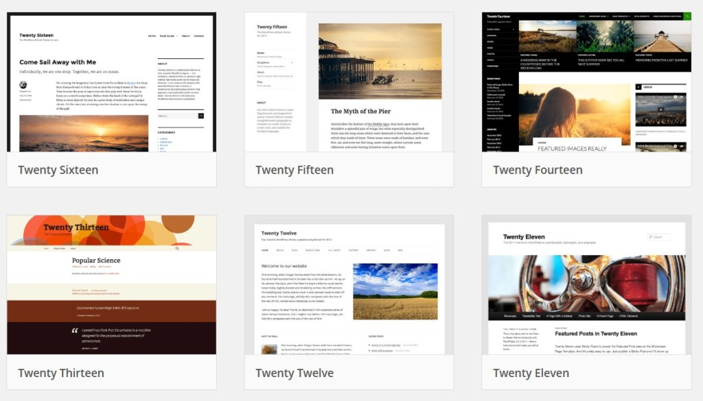 Screenshot of WordPress.org theme thumbnails