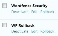 screenshot of the plugin interfaces for Wordfence and WP Rollback, showing the rollback link to the right of the edit link