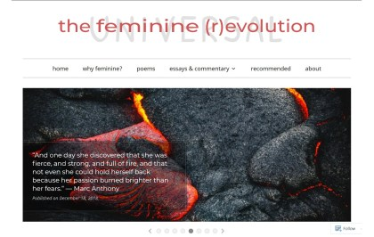 "karinswann.life home page, showing title ""the feminine (r)evolution"" superimposed over the word ""universal, and a slideshow image of hot lava, with a quote from Marc Anthony about the passion and strength of women"