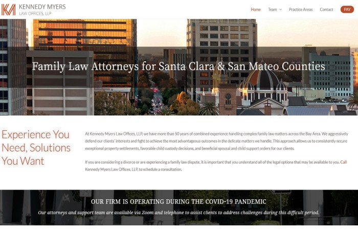 Website Home page of Kennedy Myers Family Law Offices in San Jose, CA