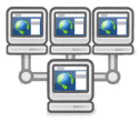 A graphic of three small computers each connected to one large computer