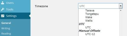 Timezone dropdown menu showing place names above the UTC options