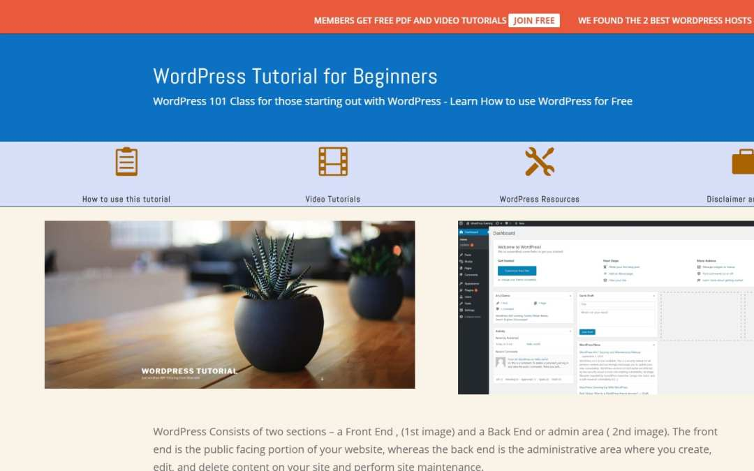 Free WordPress Tutorial for Beginners Just Launched