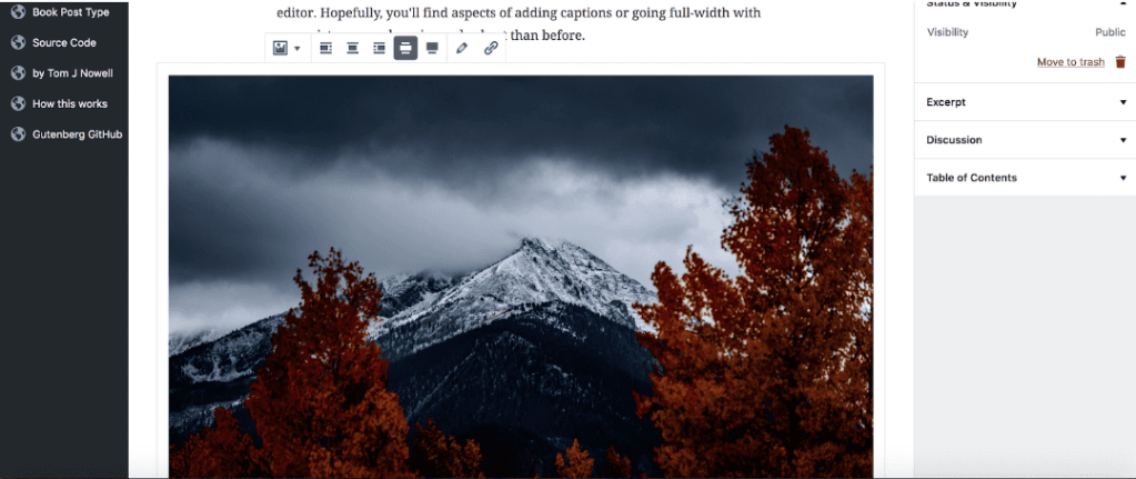 Adding an image in Gutenberg
