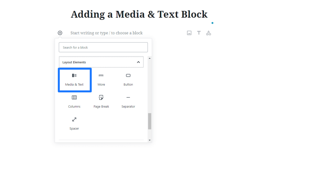 Selecting the Media and Text Block in Gutenberg.