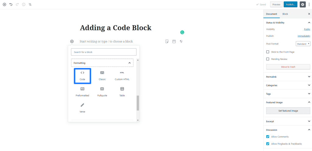 Adding a Code Listing to Gutenberg- WordPress 5 0 - WP