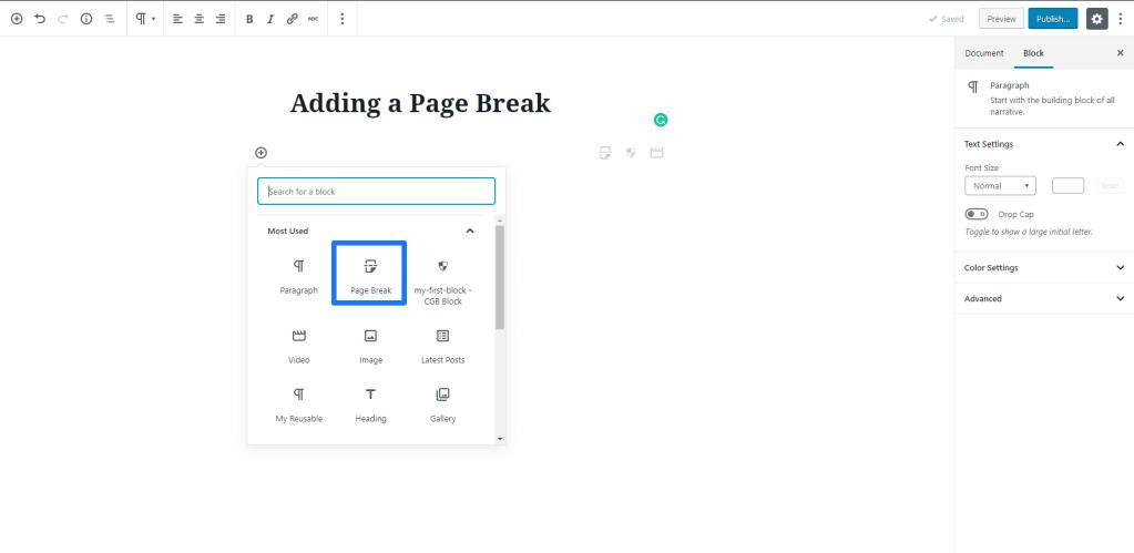 Adding a Page Break in Gutenberg