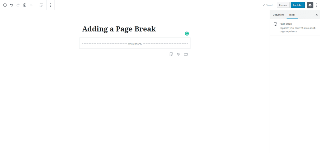 Adding a Page Break in Gutenberg- WordPress 5.0