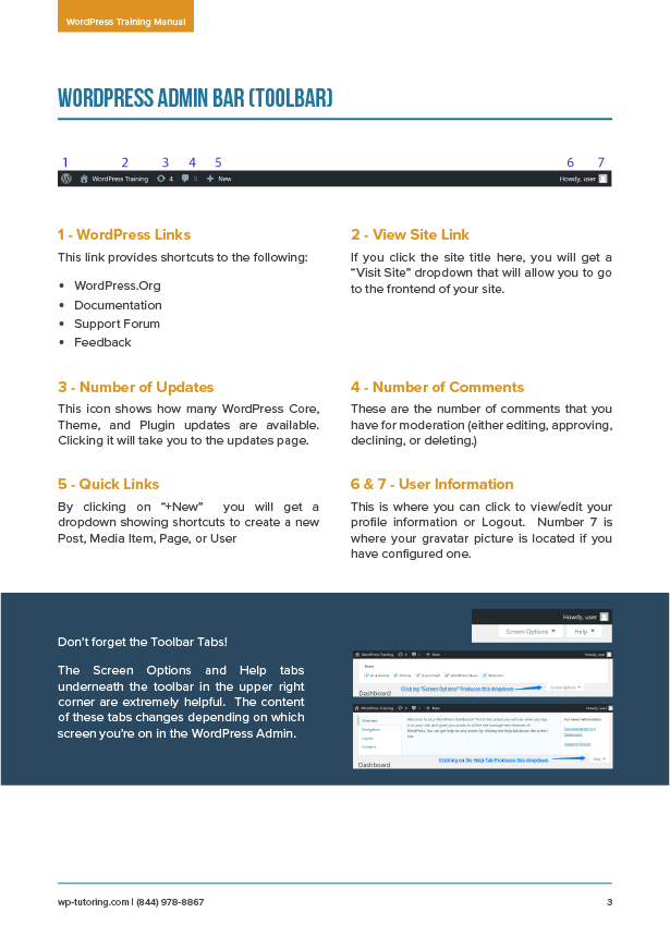 WordPress Training Manual PDF Page