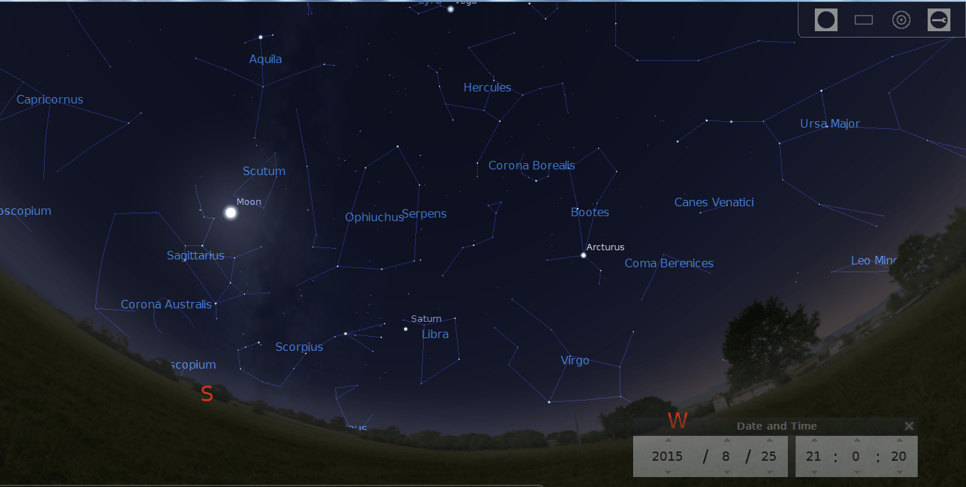 Stellarium screen capture of South West sky at 9 PM.. The Moon shines between the Moon in Sagitarius and Scutum. saturm shines between Scorpius and Libra. Bright star Arcturus is higher and to the West.